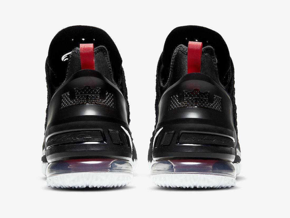 预览全新黑/大学红/白色Nike LEBRON 18官方产品图