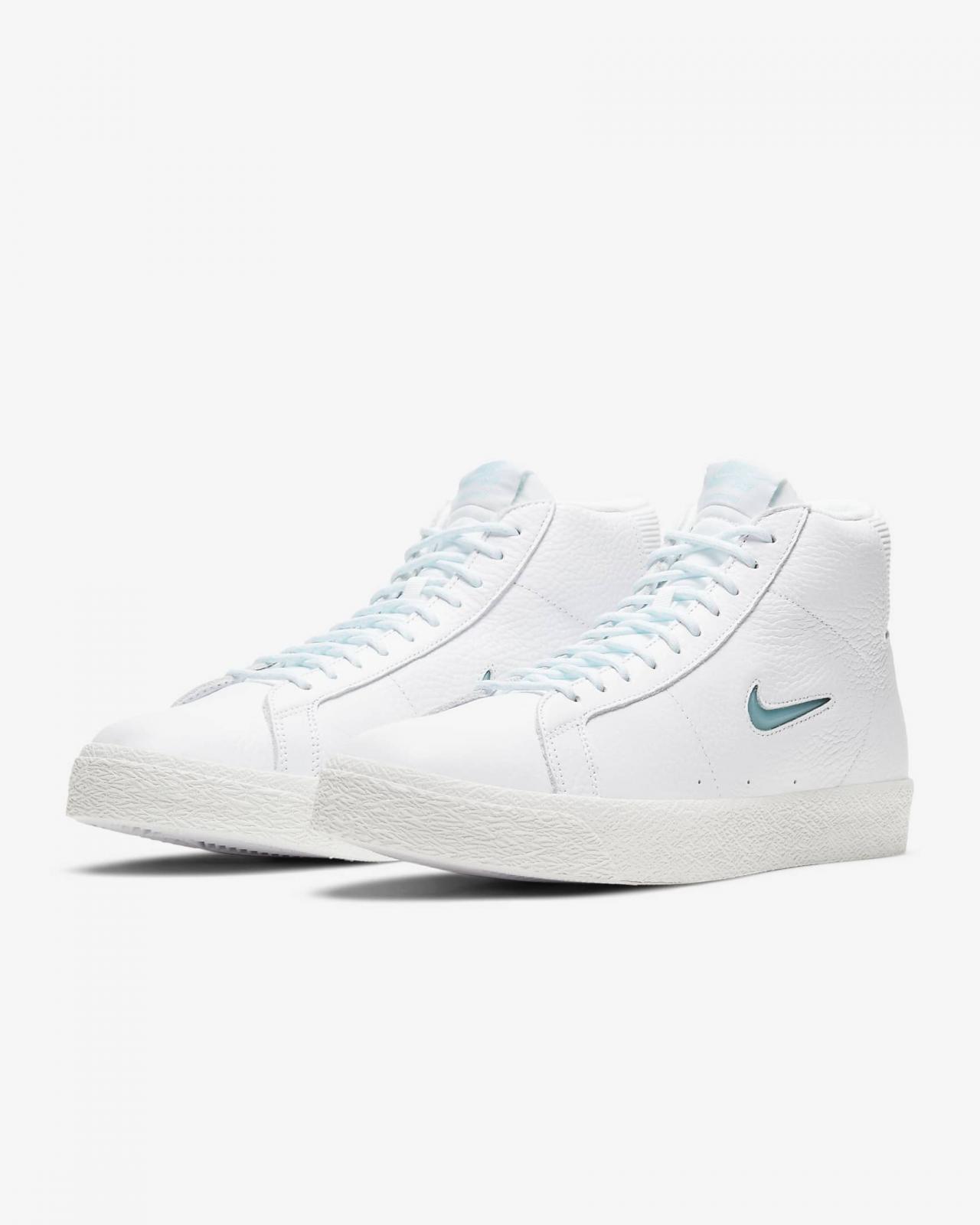 Nike SB推出全新白/山峰白/冰河蓝色Zoom Blazer Mid PRM
