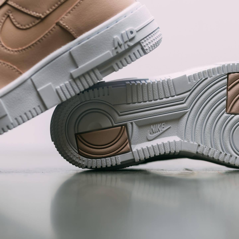 实拍展示微粒茶/黑/白色Nike WMNS AF1 Pixel