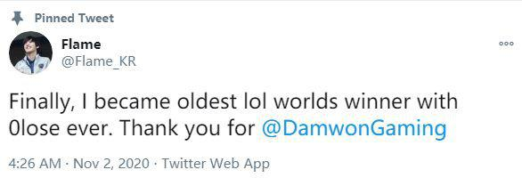 Flame躺赢夺冠:谢谢DWG让我成为最年长的零败战绩世界冠军