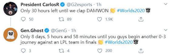 G2老板称将要打爆DWG!GEN回复:然后再次被LPL三比零