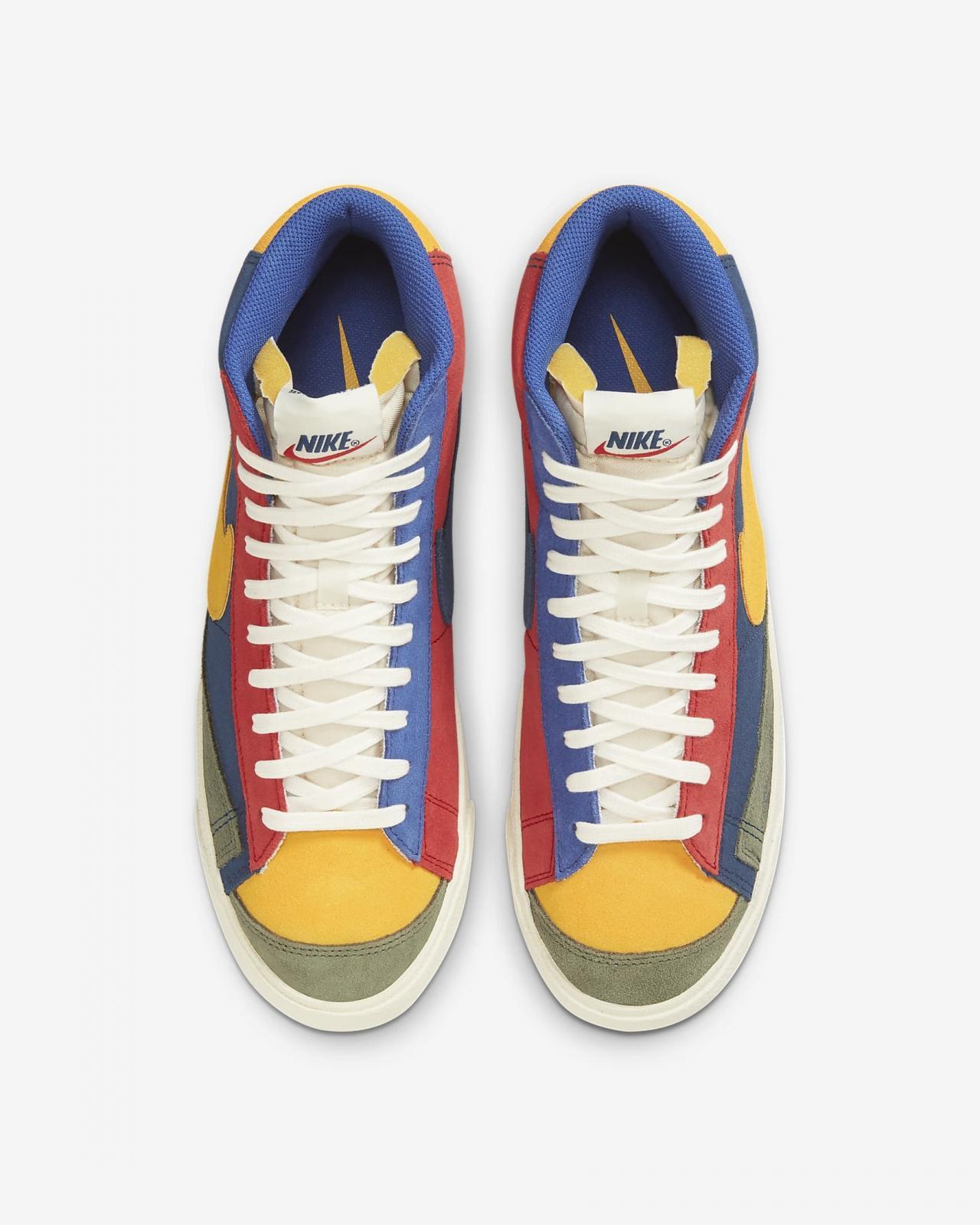 Nike Sportswear推出全新海岸蓝/大学红/日晕黄色Blazer Mid '77 VNTG WE Suede