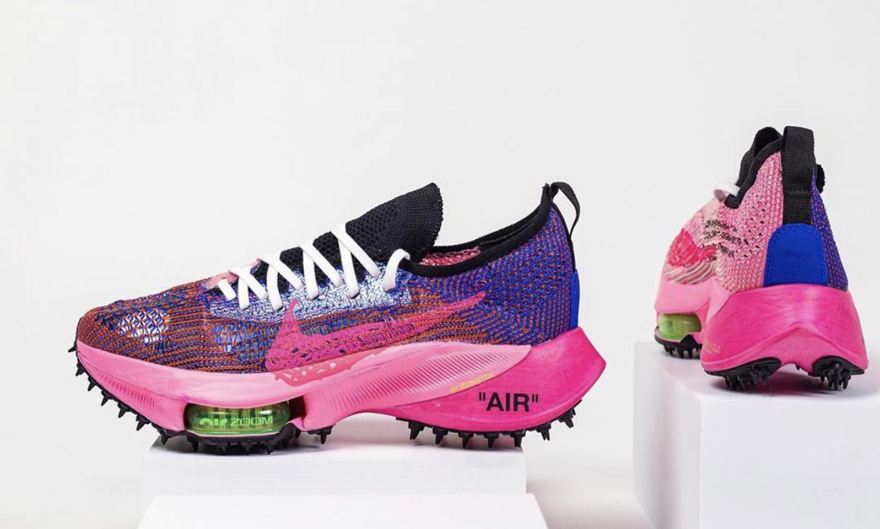 赛车蓝/黑/光辉粉/白色Off-White x Nike Air Zoom Tempo NEXT%曝光新谍照