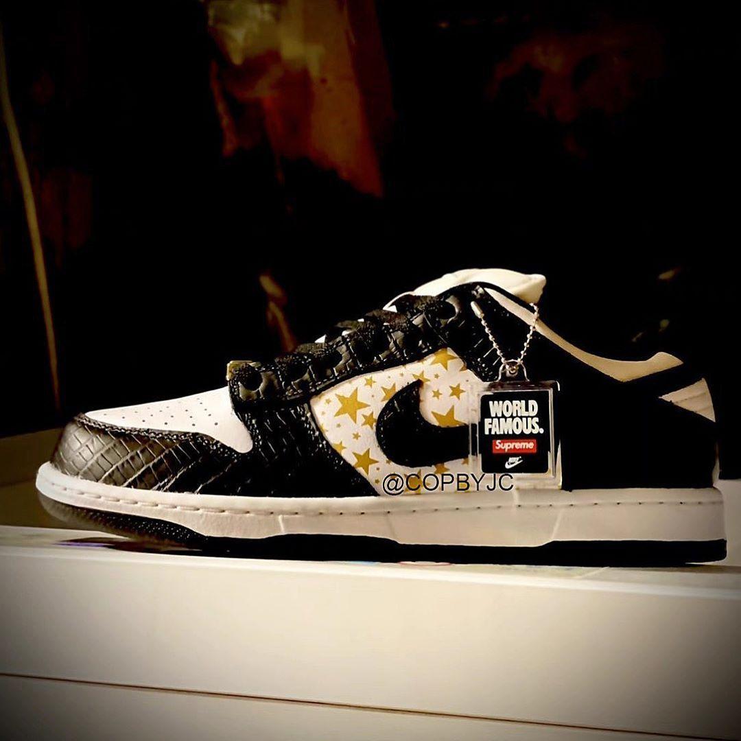谍照预览全新白/金属金/黑色Supreme x Nike SB Dunk Low OG QS