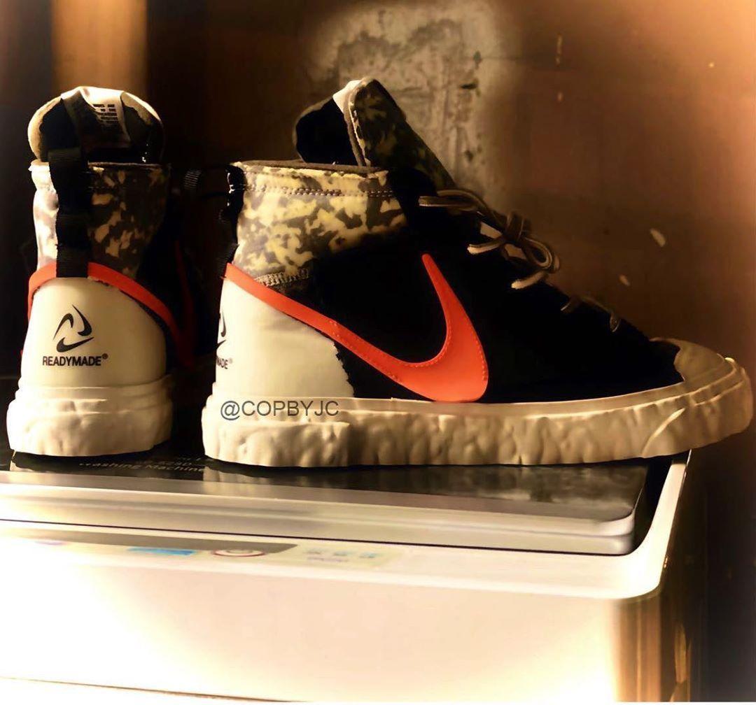 黑/荷兰橙/苍野灰/荧光黄色READYMADE x Nike Blazer Mid曝光新谍照